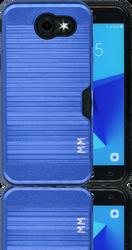 Samsung J3 Emerge MM Slim Dura Case Metal Finish With Card Holder Dark Blue