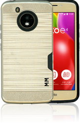 Motorola E4 MM Slim Dura Case Metal Finish With Card Holder Gold