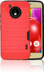 Motorola E4 MM Slim Dura Case Metal Finish With Card Holder Red