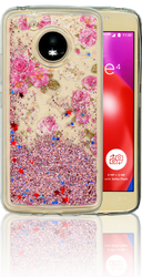 Motorola E4  MM Water Glitter Flowers