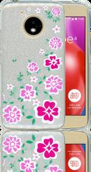 Motorola E4  MM Flowers Glitter Hybrid