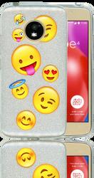 Motorola E4  MM Emoji Glitter Hybrid