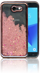 Samsung Galaxy J3 Emerge MM Electroplated Water Glitter Case With Stars Rose Gold