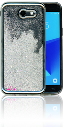 Samsung Galaxy J3 Emerge MM Electroplated Water Glitter Case With Stars Silver