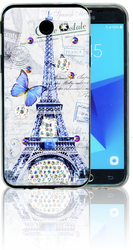 Samsung Galaxy J3 Emerge MM Electroplated Bling Paris Butterfly