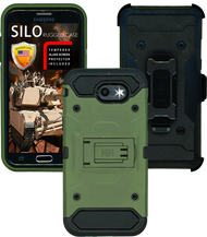 Samsung Galaxy J3 Emerge MM Silo Rugged Case Green(Tempered Glass Included)
