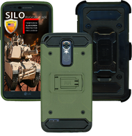 LG Stylo 3 MM Silo Rugged Case Green(Full Covered Tempered Glass Included)