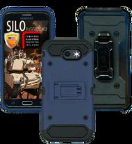 Samsung Galaxy J3 Emerge MM Silo Rugged Case DARK BLUE(Tempered Glass Included)