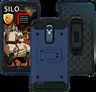 LG Stylo 3 MM Silo Rugged Case DARK BLUE(Full CoveredTempered Glass Included)