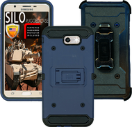 Samsung Galaxy J7(2017) MM Silo Rugged Case DARK BLUE(Tempered Glass Included)