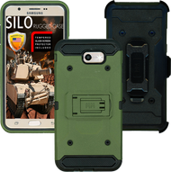 Samsung Galaxy J7(2017) MM Silo Rugged Case ARMY GREEN(Tempered Glass Included)