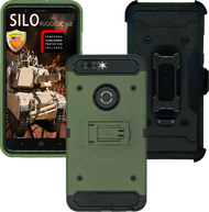 ZTE Blade MM Silo Rugged Case ARMY GREEN(Full Covered Tempered Glass Included)