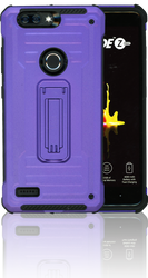 ZTE Blade MM Opal Kickstand Case With Credit Card Purple(Full Covered Tempered Glass Included)