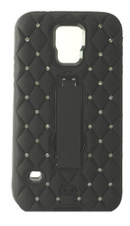 HTC M8 Dual Bling With Kickstand Black