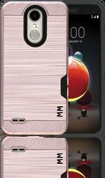LG Aristo 2 MM Slim Dura Case Metal Finish With Card Holder Rose Gold