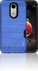 LG Aristo 2 MM Slim Dura Case Metal Finish With Card Holder Blue