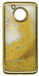 MOTO E4 PLUS MM Electroplated Water Glitter Case With Stars Gold