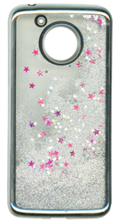MOTO E4 PLUS MM Electroplated Water Glitter Case With Stars Silver