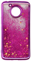 MOTO E4 PLUS MM Electroplated Water Glitter Case With Stars Hot Pink