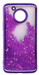 MOTO E4 PLUS MM Electroplated Water Glitter Case With Stars Purple