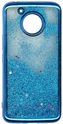 MOTO E4 PLUS MM Electroplated Water Glitter Case With Stars Blue