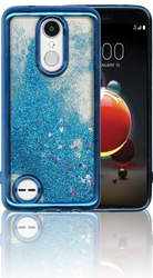 LG Aristo 2 MM Electroplated Water Glitter Case With Stars Blue