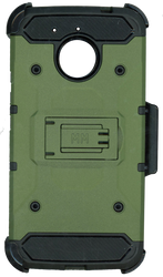 Motorola E4 PLUS MM Silo Rugged Case Army Green(Tempered Glass Included)