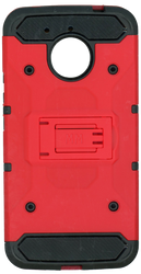 Motorola E4 PLUS MM Silo Rugged Case Red(Tempered Glass Included)