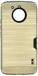Motorola E4 PLUS MM Slim Dura Case Metal Finish With Card Holder Gold