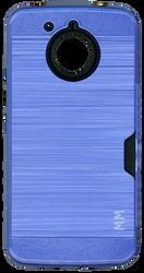 Motorola E4 PLUS MM Slim Dura Case Metal Finish With Card Holder Blue