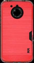 Motorola E4 PLUS MM Slim Dura Case Metal Finish With Card Holder Red