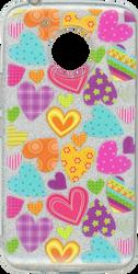 Motorola E4 PLUS MM Hearts Glitter Hybrid