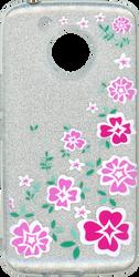 Motorola E4 PLUS MM Flowers Glitter Hybrid