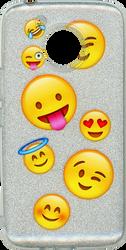 Motorola E4 PLUS MM Emoji Glitter Hybrid