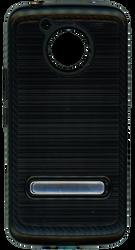 Motorola E4 PLUS Carbon Fiber Metal W Kickstand Black