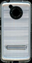 Motorola E4 PLUS Carbon Fiber Metal W Kickstand Silver