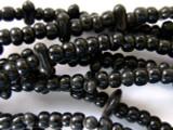 Old Maya Black Glass Beads - 16 foot long strand (GUA355)