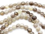 Smoky Quartz Round Tabular Gemstone Beads 9-10mm (GS863)
