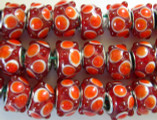 Red w/Orange Polka Dots Glass  Beads 14mm - Large Hole (LW1135)