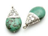 Turquoise & Silver Tibetan Pendant 36-45mm (TB149)