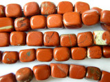 Poppy Jasper Rounded Cube Gemstone Beads 12-14mm (GS952)