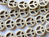 Natural Howlite Peace Sign Gemstone Beads 15mm (GS1173)