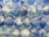 Blue & Clear Recycled Glass Beads 14-16mm - Africa (RG152)