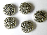 Silver Tone Sunflower Bead 10mm (ST22)
