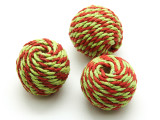 Cotton Wrapped Bead - Tomato Red & Pale Lime 25mm (CT104)