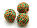 Cotton Wrapped Bead - Green & Orange 25mm (CT106)