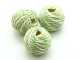 Cotton Wrapped Bead - Mint Green & White 25mm (CT114)