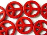 Red Howlite Peace Sign Gemstone Beads 25mm (GS1329)