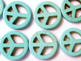Turquoise Howlite Peace Sign Gemstone Beads 25mm (GS1341)