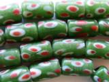 Olive w/Red Orange Cylinder Glass Beads 18mm (JV276)